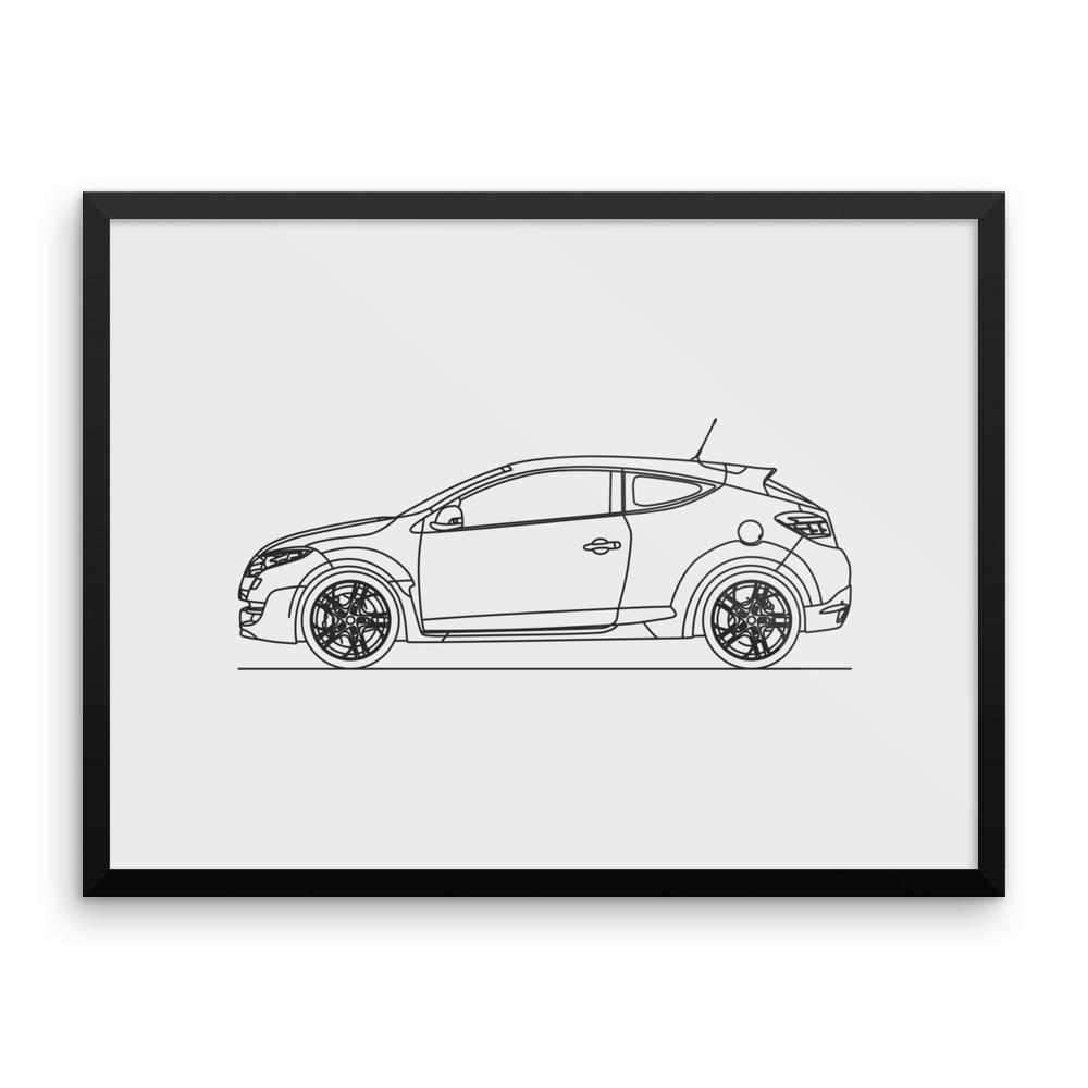 Megane rs st gen minimal line art framed matte black and products