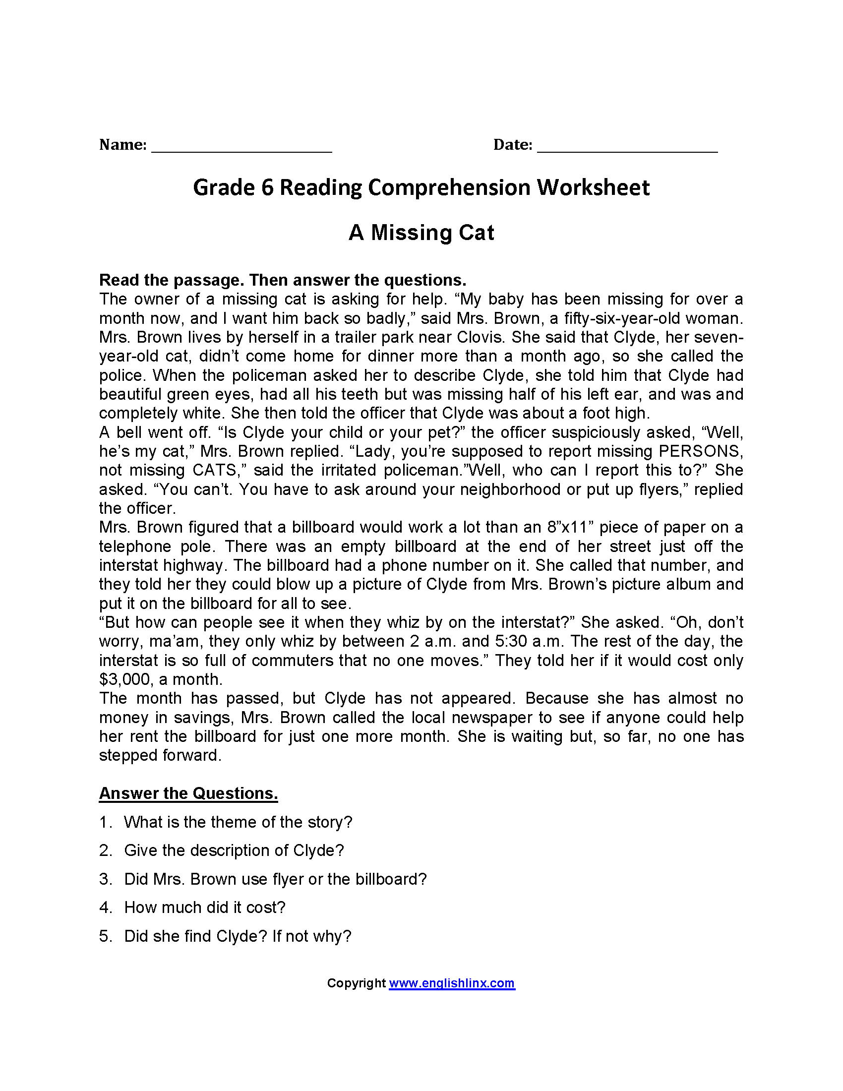 A Missing Cat Sixth Grade Reading Worksheets