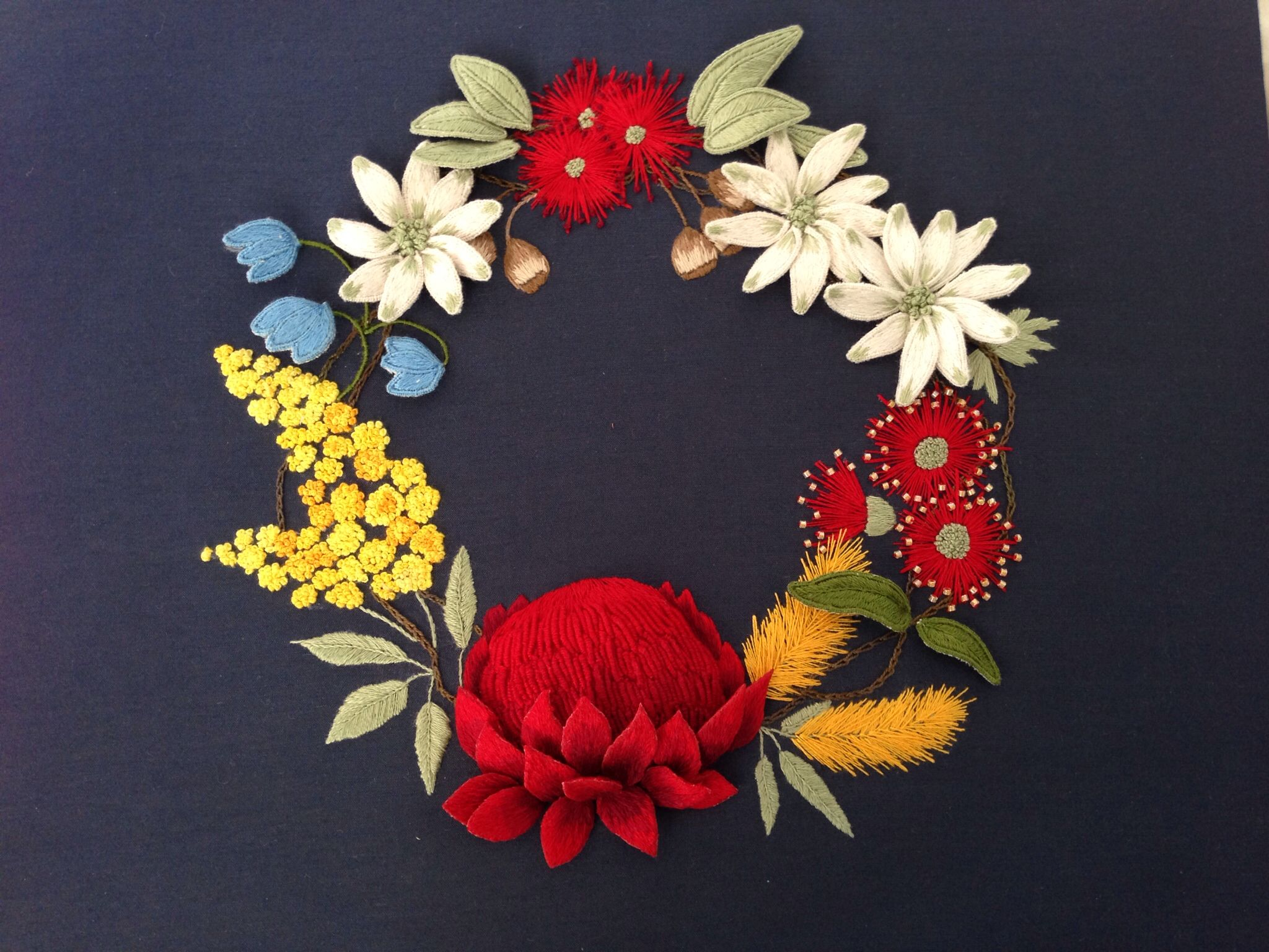 Stumpwork wreath designed by me embroidery pinterest wreaths