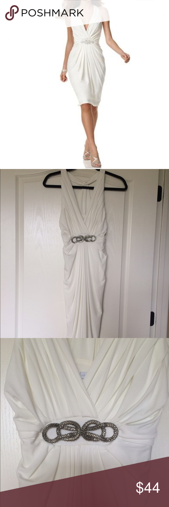 White apron macy's -  Reduced White Cocktail Dress Macy S London Times Soft White Dress With Silver Knot Embellishment