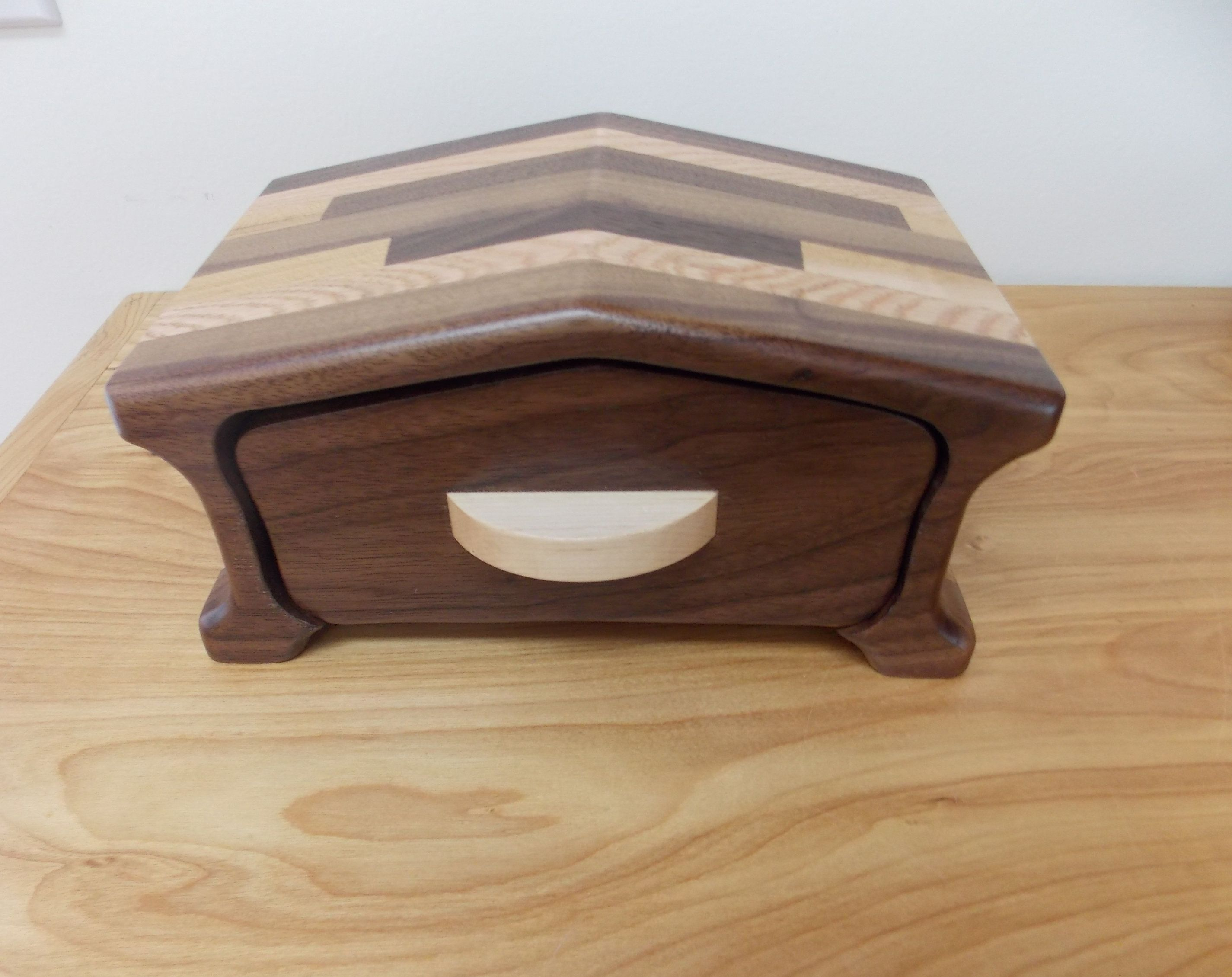 Small Walnut Wood Bandsaw Jewelry Box Walnut And Oak Bandsaw