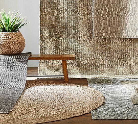 Chunky Wool Boucle Woven Jute Rug 8x10 Gray