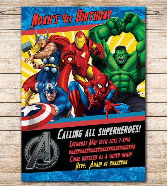 80 OFF SALE Comic Marvel Birthday Invitation Party Avengers Printable