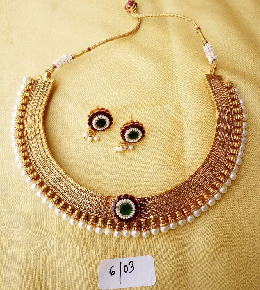 Gold Necklace Plated Choker Set Indian Wedding Earring New Bridal ...