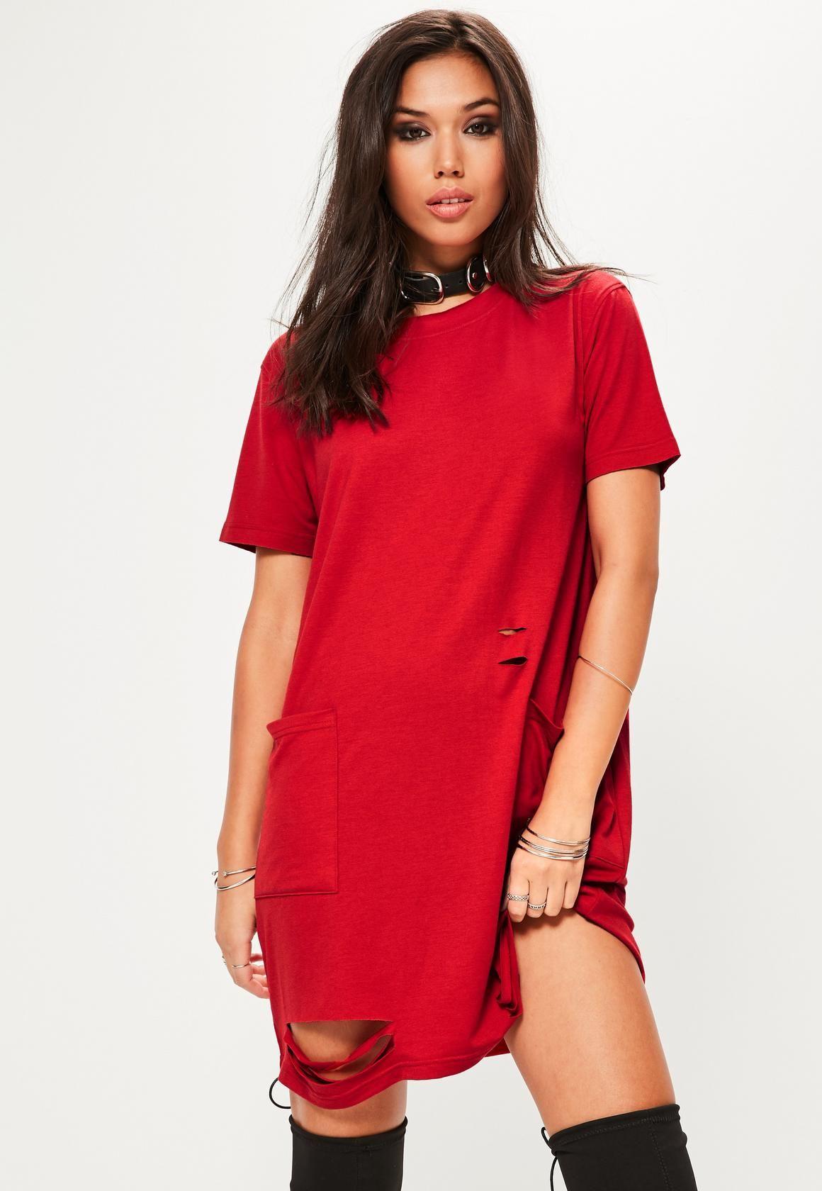 91cb567da61f Missguided - Red Distressed Pocket T-Shirt Dress