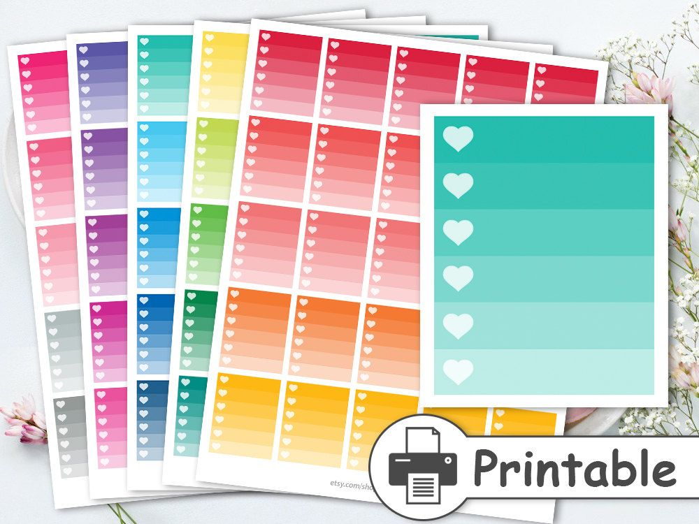 Printable bright ombre heart checklistfull box checklistchecklist stickers ombre box stickerscheck box stickersto do checklist