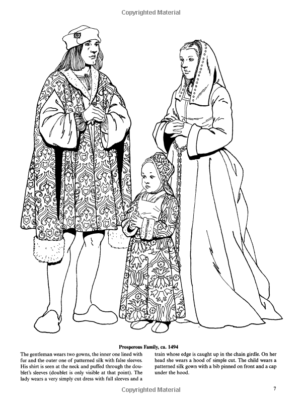 Tudor And Elizabethan Fashions Dover Fashion Coloring Tudor Colouring Pages