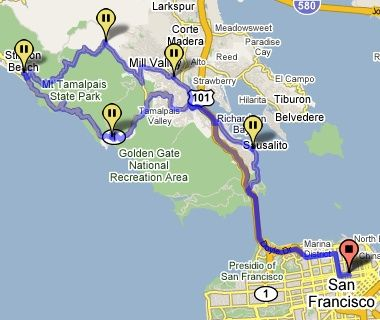 Map from San Francisco to Sausalito to Stinson Beach Sausalito