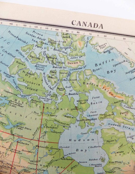 Canada Map North America Map 1948 map of Canada Bartholomew – Map of Canada North