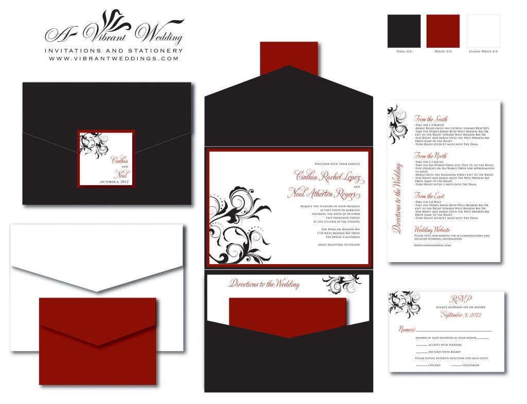 Black U0026 Red Wedding Invitation   Pocketfold Style W Spanish Floral Scroll