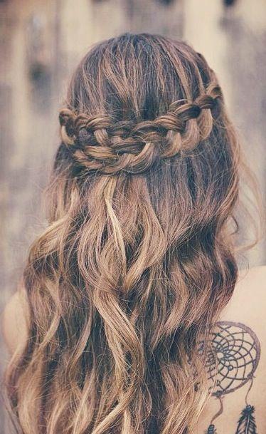 Semirecogido corona de trenzas peinados para bodas - Peinados de semirecogido ...