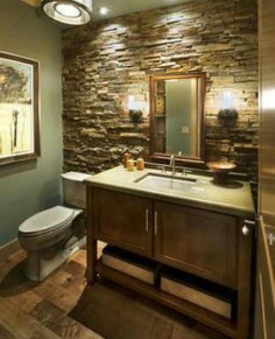Rock Wall Bathroom Craftsman Bathroom Bathrooms Remodel