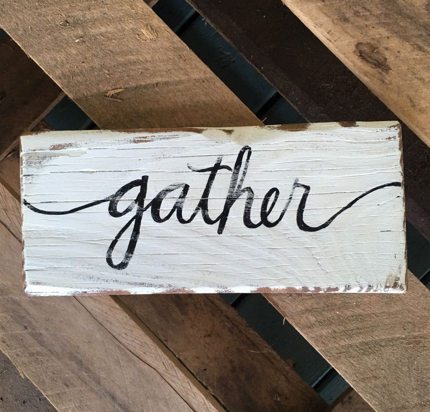 Gather Sign/Hand Painted Gather Sign/Black and White Gather Sign ...