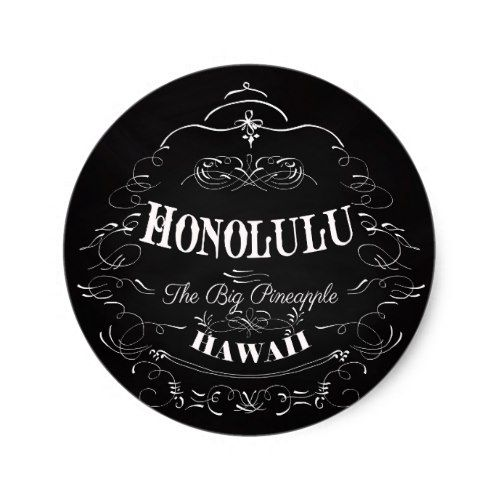 Honolulu hawaii the big pineapple classic round sticker