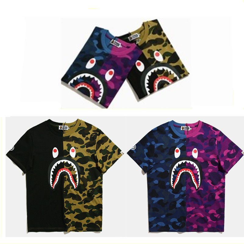 BAPE A Bathing Ape Blue Camouflage Short Sleeve Shark Head Round Collar T-shirt/&