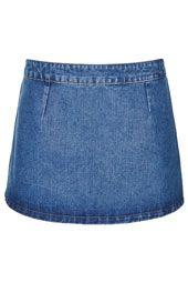Petite MOTO Denim Skirt