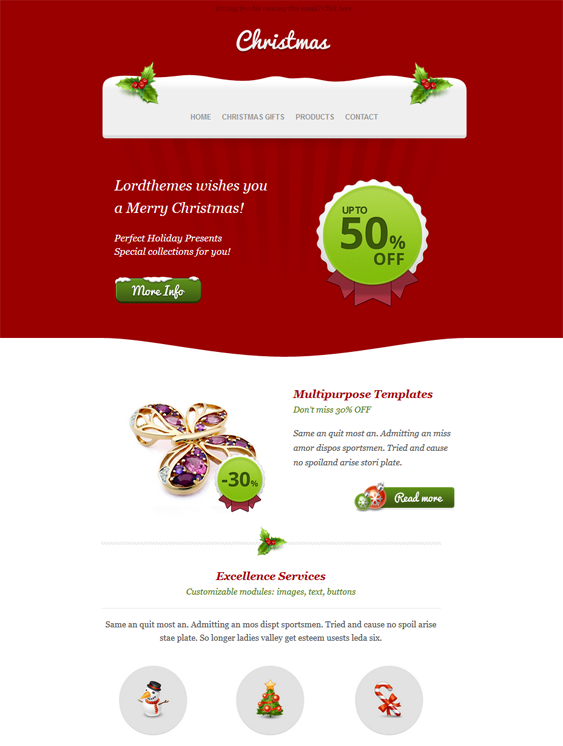 This Holiday And Christmas Email Template Has A Responsive Layout
