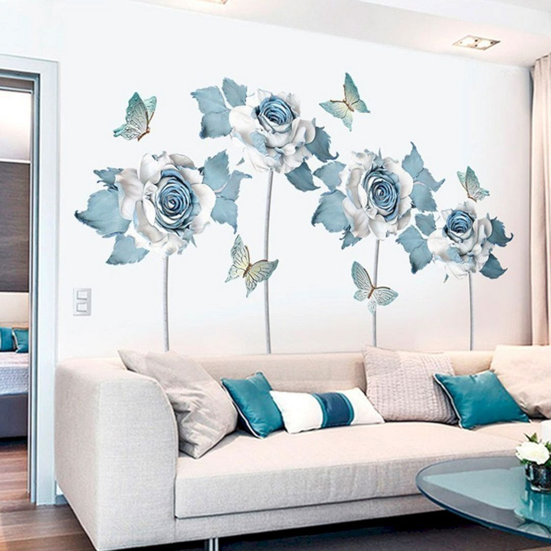 15 Beautiful Rose Wall Painting Design For Home Decoration Ideas
