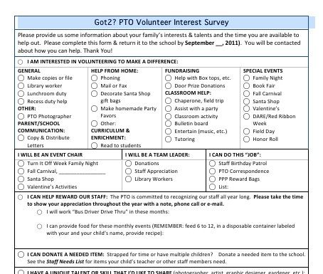 Volunteer Interest Survey Find Out What Future Pto Or Pta