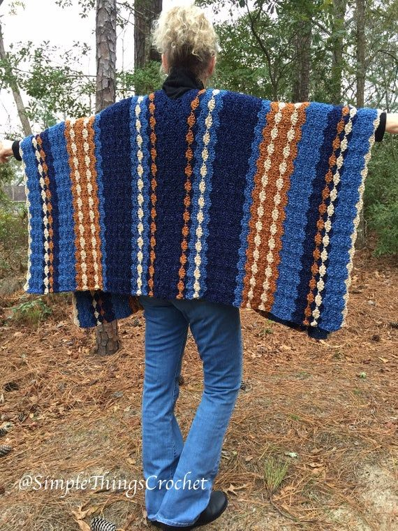 Easy Crochet Poncho, Simple Crochet Shawl, Blue Jean Baby Poncho, Women's Crochet Poncho Pattern, Women's Sweater, Women's Crochet Tops #babyponcho