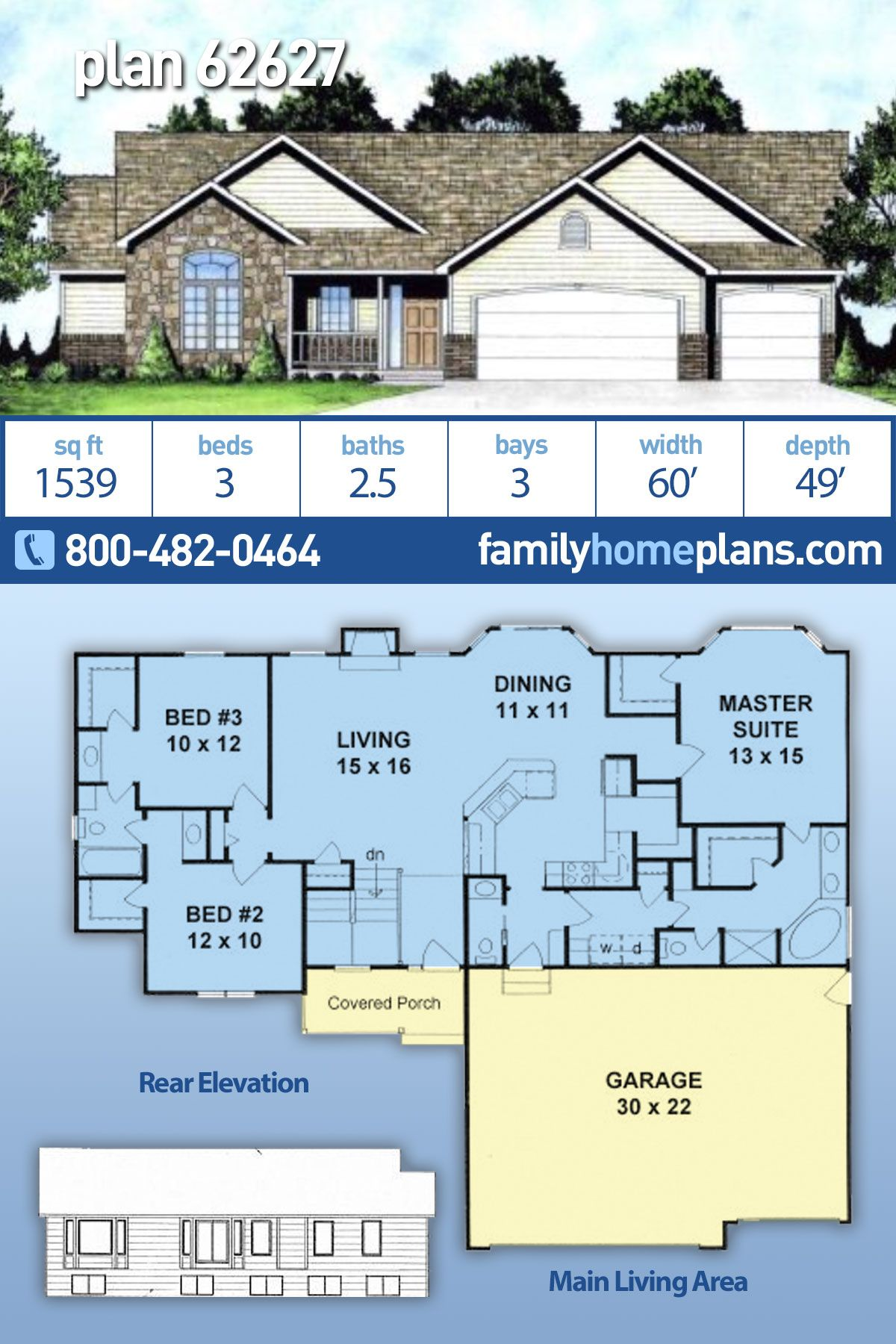 Traditional Style House Plan 62627 With 3 Bed 3 Bath 3 Car Garage Ranch House Floor Plans Family House Plans House Plans