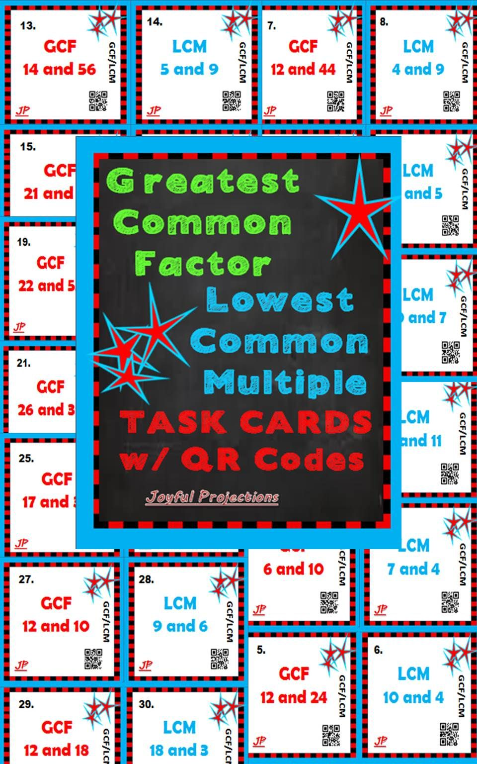 36 Task Cards 18 Gcf 18 Lcm Separate Or Combine Them For Great Fun Review Activities Of Greatest Common Factors Common Multiples Teaching Math Elementary [ 1536 x 960 Pixel ]