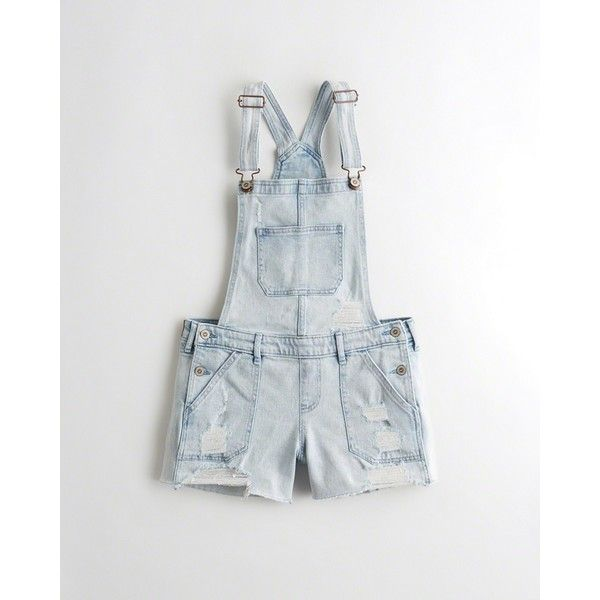 dcfdd9caea342 Hollister Denim Short Overalls (200 AED) ❤ liked on Polyvore featuring  jumpsuits, rompers, shorts, ripped light wash, distressed overalls, white  overalls, ...