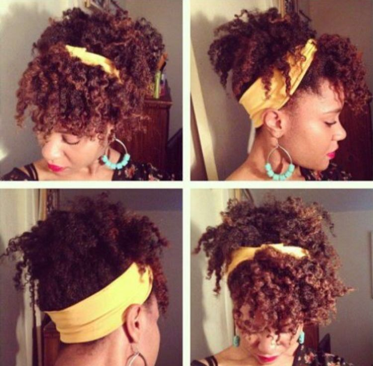 Scarf Updo With Bangs For Natural Curly Hair