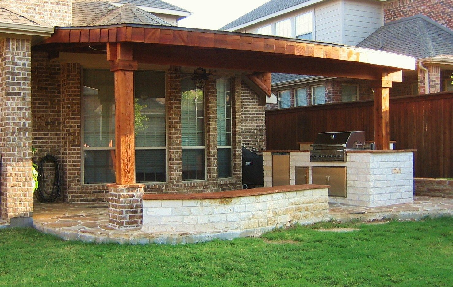 Patio designs 14x24 cedar patio cover complete with 2 brick accent on post base