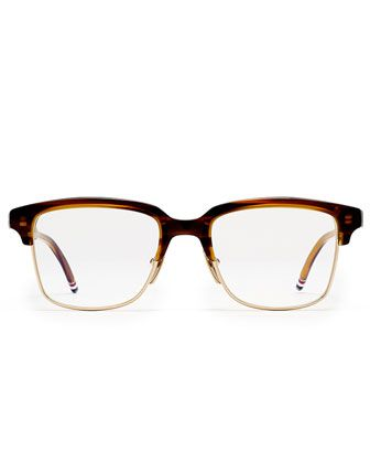 eb1d9ecbd1b 12K+Gold+ +Walnut+Acetate+Half-Rim+Glasses +by+Thom+Browne+at+Bergdorf+Goodman.