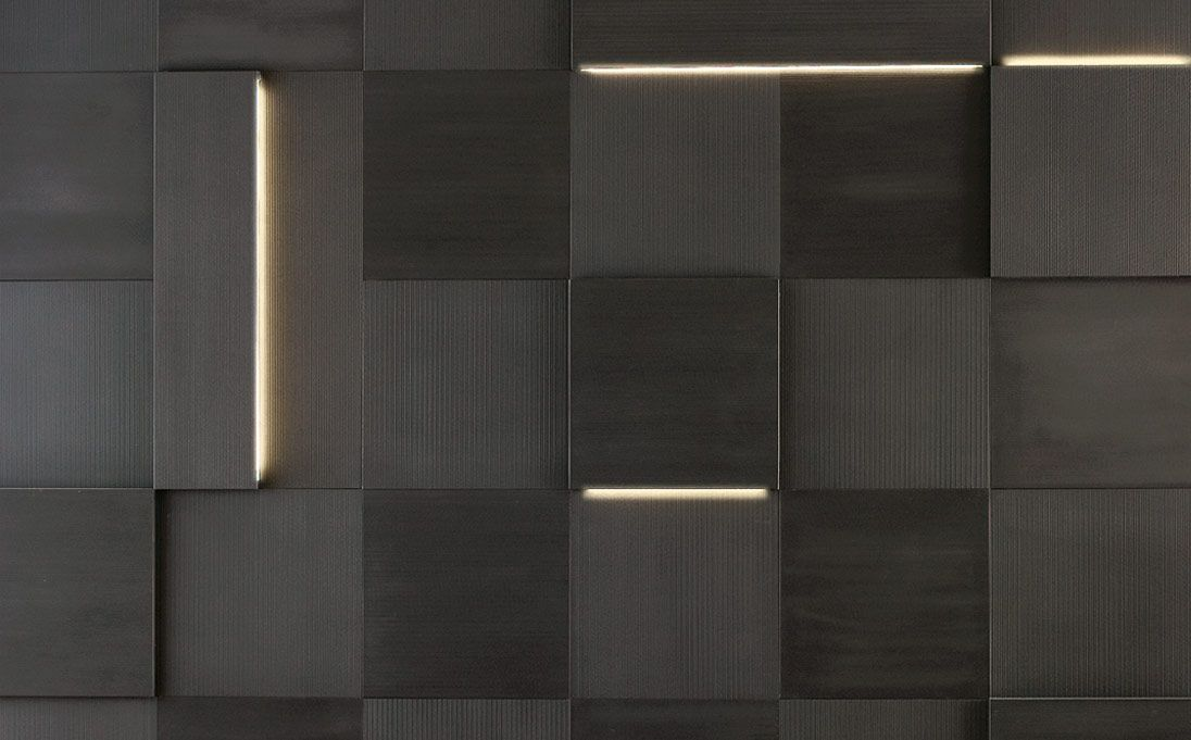 Augmented Texture Striped Led Series tiles, Black Rock ...