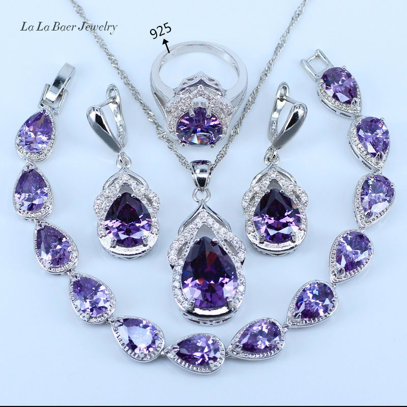L B Best Wedding Present Purple Crystal White Zircon Jewelry Sets 925 Logo Silver Price 18 Free Shipping Djooli