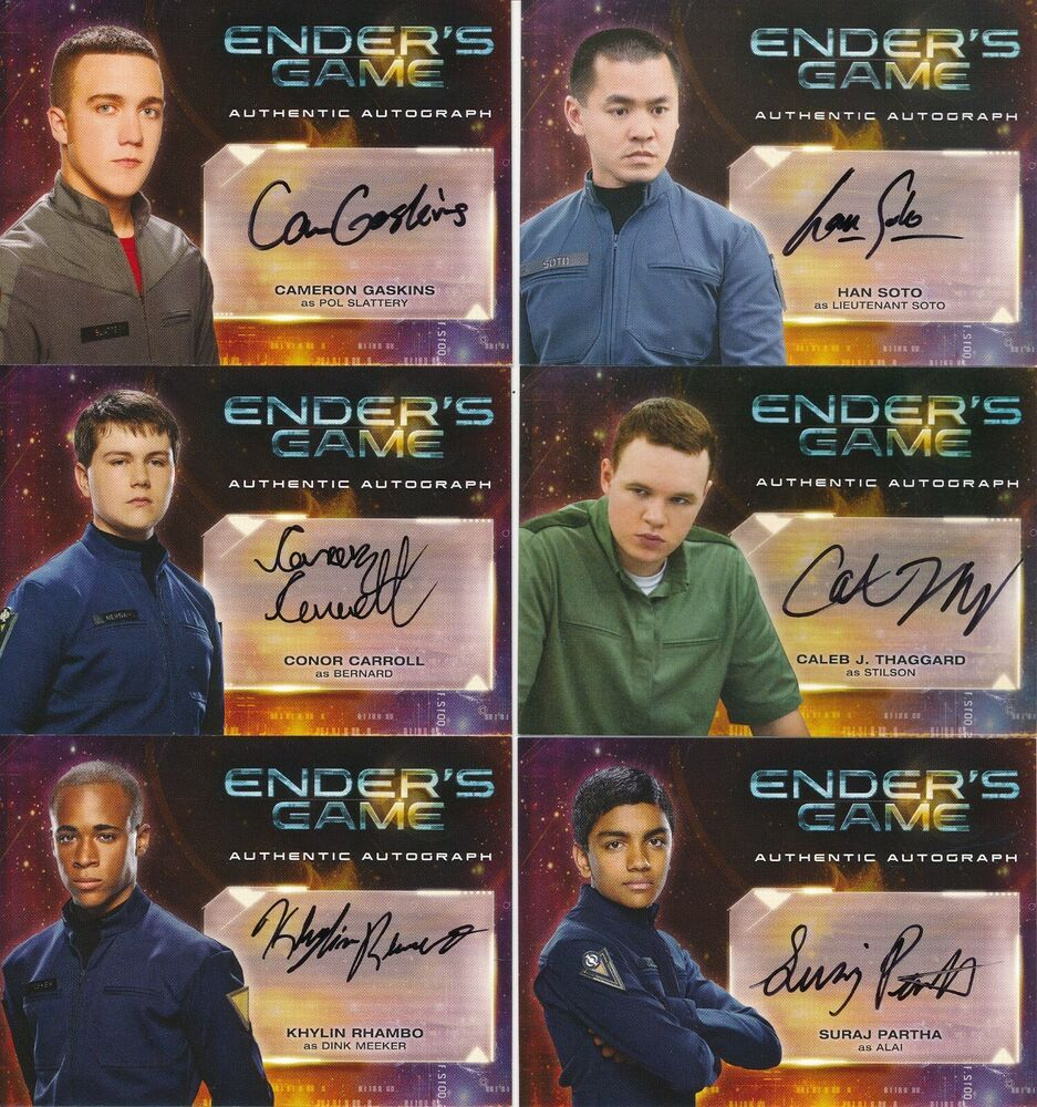 Enders game autograph lot of 6 cards a101112131415