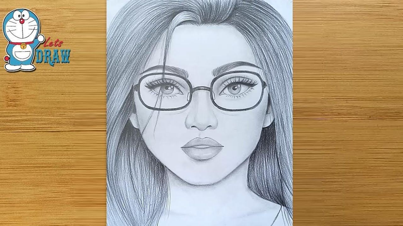 How to draw a Girl face with Glasses for beginners - step ...