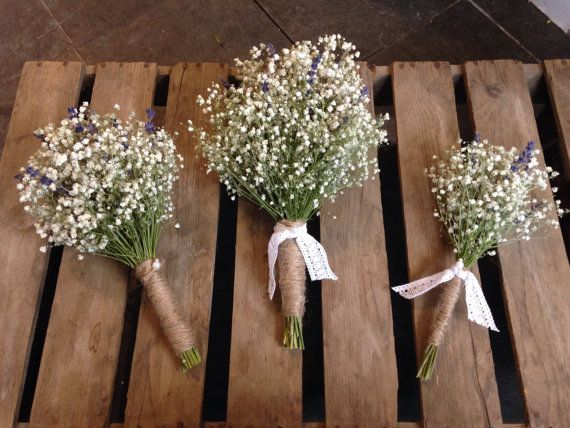 Bridal Bouquet Dried Gypsophila Baby S Breath By Wildflowerswigan Rustic Bridal Bouquets Bridesmaid Flowers Simple Bridesmaid Bouquets