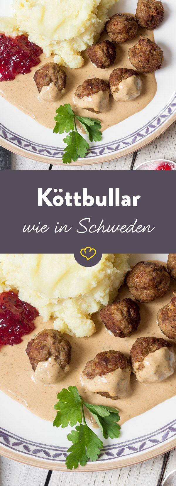 Schwedische Fleischbällchen: Köttbullar mit Preiselbeerkompott #obstgemüse
