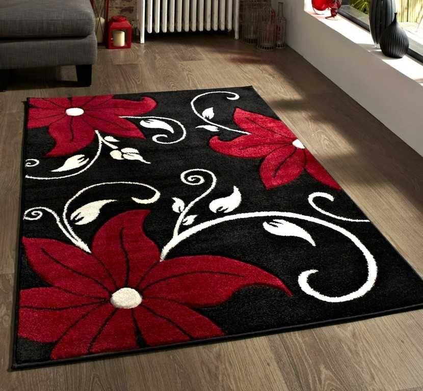 Verona Oc15 Black Red Rugs Modern