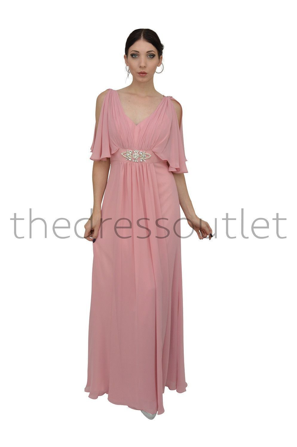 Long Mother of the Bride Dresses Modest V Neck Chiffon Plus Size ...