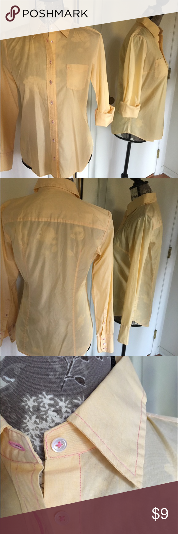 J Crew Light Yellow Button Down This button down is light and airy- perfect for layering! Canary yellow with pink stitch work. True to size. Like new condition. 🌾 Tops Button Down Shirts