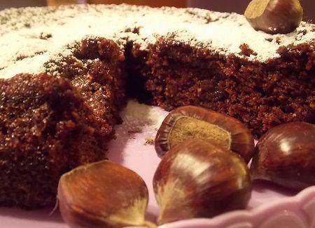 Torta di farina di castagne e cioccolato fondente