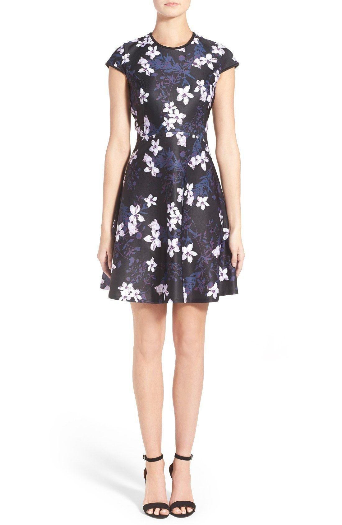 Ivanka Trump Floral Print Scuba Fit Amp Flare Dress Fit
