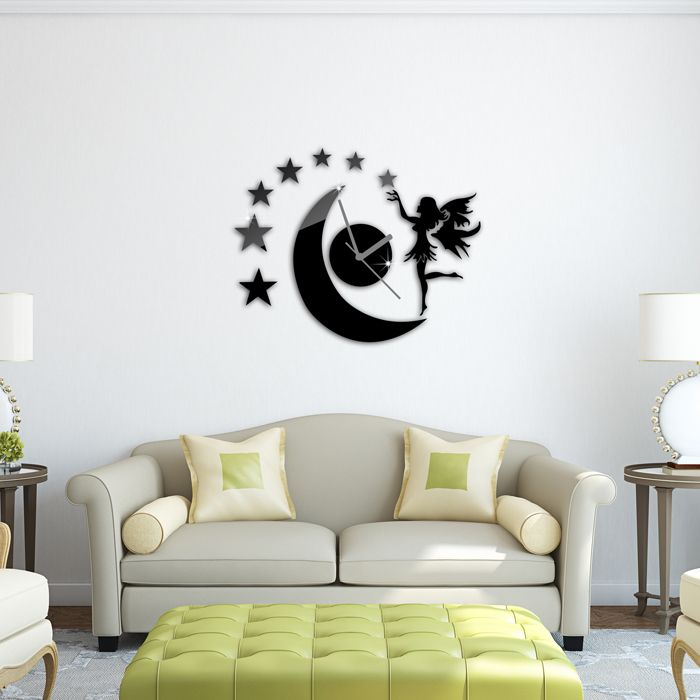 Dancing girls moon star 3d wall clock wall sticker diy art home decoration free shipping