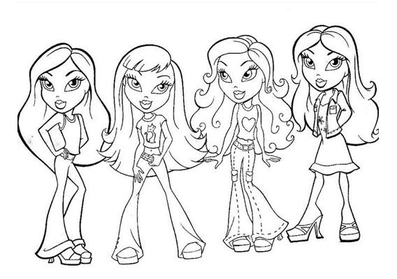 Kleurplaten Bratz Dieren.Kleurplaat Bratz Girls Groep Color Book Cartoon Coloring Pages