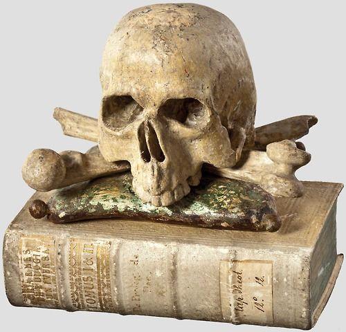 "A German memento mori - book and skull, mid-18th century ""Theologica Universa"", Augsburg 1760"