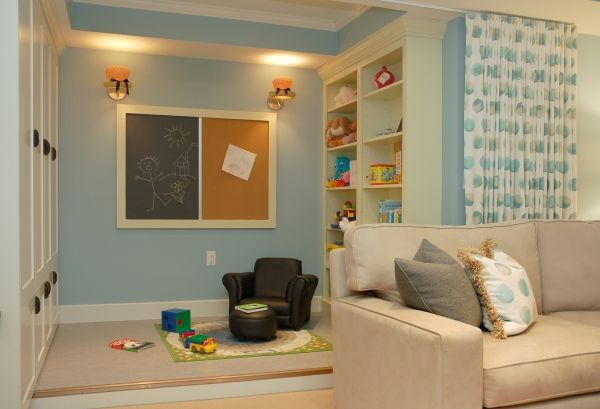 Basement Ideas For Kids Area. Living room play area with curtain  Kaffenbarger Home