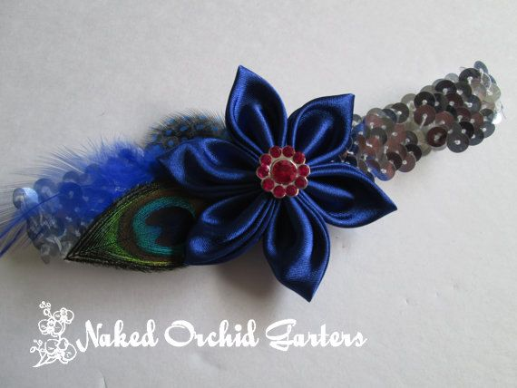 Wedding / Prom Garter, Silver Sequin Garter, Sapphire Blue Garter, Peacock Garter, Royal Blue Feather Garter, Art Deco Kistchy Garters