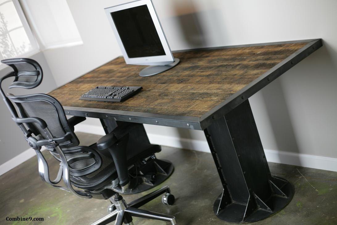 Vintage Industrial Desk Table Steel I Beams Rivets And Reclaimed Wood Top C Industrial Office Furniture Vintage Industrial Desk Industrial Design Furniture