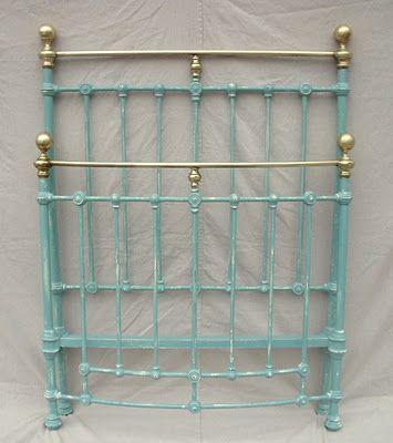 Stunning twin iron and brass bed painted in chalk paint, distressed ...