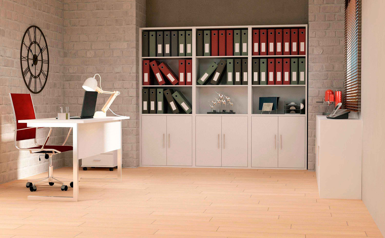 Mueble de oficina con estanter a baja de dos puertas for Armarios para despachos