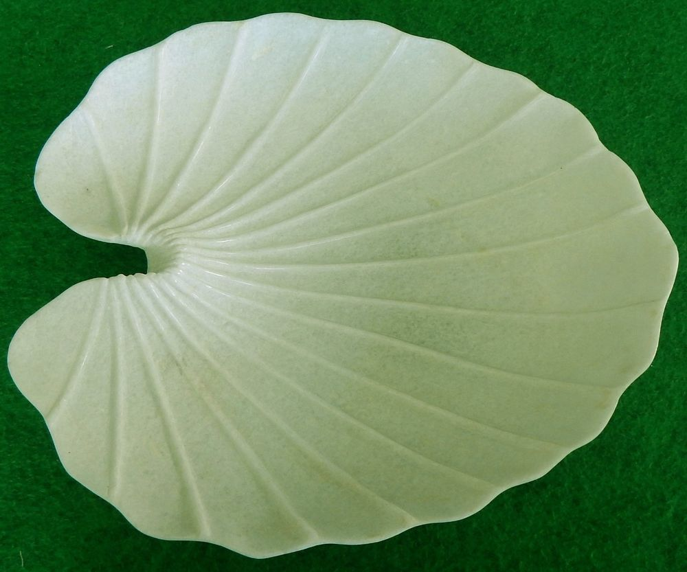 Decorative Leaf Bowl Handmade White Marble Leaf Bowl Coffeetable & Floor Decorative